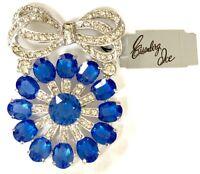 NWT Eisenberg Ice Vintage Script Signed Blue Sparkly Rhinestone Brooch Pin