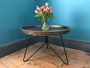 Low Antique Gold coloured 65cm diameter Tray Table / Coffee Table