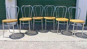 6 Italian Chrome Thonet Chairs Cane Seats Chrome Double Hoop Frames Vintage Cafe
