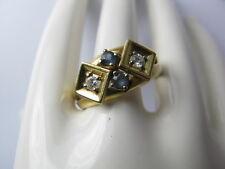 Bague pour dame Bague 585/14kt Or/Gold 2x brillant & 2x Saphir 0,35 ct à la main