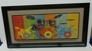 "Drum Set Art Picture 25""x13"" Black Frame Colorful"