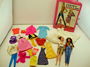 Vintage 1980's Tara Case With 2 Barbies, Accessories, & Clothes Inside