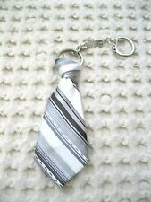 """Gray Grey Strip Stripped Necktie 7"""" Keychain-Gray Neck tie Keychain-Brand New!"""