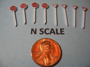 N SCALE SET OF 4 @ RED STOP & YIELD SIGNS, CUSTOM-MADE, NEW