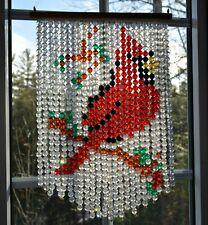 Vintage hanging beaded decoration Cardinal bird plastic beads winter Xmas decor