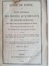 LIVRE DE POSTE pour l'Année 1833  - état général des postes aux chevaux
