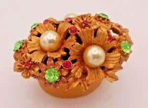 Vintage Florenza Signed Goldtone Faux Pearls Rhinestones Trinket Pill Ring Box