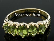C163 BEAUTIFUL Genuine 9K Solid Gold NATURAL Peridot 5-stone Eternity Ring sizeN