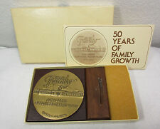 1983 JOHN DEERE BRONZE MEDAL - MINT IN BOX w/ STAND - 50 YEARS FAMILY GROWTH