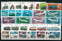 BULGARIA Transport PLANES CARS TRAINS - lot of 6 complete sets (30 stamps) MNH