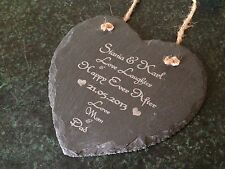 Personalised Wedding Anniversary Gift Present Slate Heart Baby Keepsake Dad