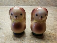 Puppy Dog Salt Pepper Shaker Set Ceramic Japan