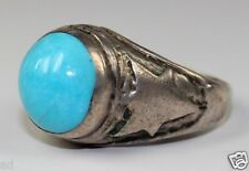 Vintage Mens Ring Native American Signed Sterling Silver Large Turquoise Sz10