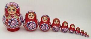 10 pcs Russian Nesting Doll - Matryoshka #3608 RED
