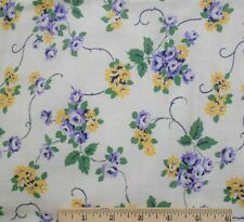 "Vintage Feed Sack Fabric Material 38"" x 46"" Purple & Yellow Flowers"