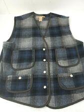 Vintage 90's Women Wool Blend Plaid Vest Flannel Equestrian Barn Med Blue Snap