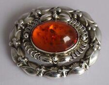 Finest Vintage Denmark Georg Jensen Danish Sterling Silver Amber set Brooch #109