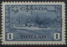 Canada 1942 O262 $1.00 Destroyer 4 hole OHMS official