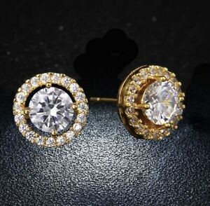 Women's Gold Plated Crystal Pave Round Cut Halo Cz Stud Earrings - UK SELLER