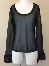 THE LIMITED Women's Black Sheer Knit Top Sweater w/ Sequins Size LARGE