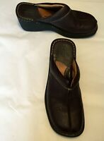 "Born Women's Shoes Brown Pebbled Leather Mules Slides 2.5"" Heels Size 10 M/W"