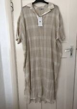 ZARA ECRU/SAND RUSTIC SHIRT COLLAR CHECKED TUNIC DRESS SIZE XL BNWT