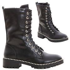 Zapatos Mujer Botines Botas Militares Bajos Motociclista Stingati Nuevo JL1785