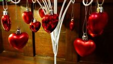 "NEW 12 SHINY + SATIN RED 1 1/2"" HEART VALENTINE ORNAMENTS FEATHER TREE MOLDED"