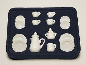 Miniature Dollhouse Porcelain Tea Set Solid White 17 Pieces 1:12 Scale New