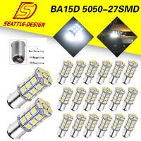 20PCS White BA15D 5050 27 SMD RV Camper Trailer Brake LED Light bulbs 1076