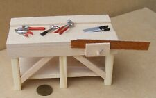 1:12 Scale Natural Finish Work Bench And Tools Tumdee Dolls House Accessory A&D