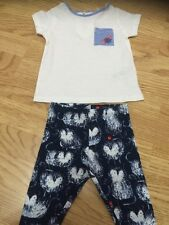 Brand New Next Baby Girl Size 3-6 Months - White Top & Navy Cat Leggings