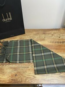 Dunhill Scarf Cashmere Blend Tartan Olive BNWT  £175