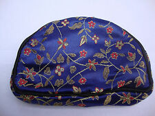 Navy Blue Womens Wallet Change Purse Chinese Satin Floral Black Brocade Coin Bag