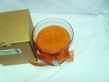 Longaberger 3 Wick Glass Hurricane Candle Pumpkin Pie 30 ounces New