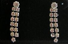 dangle Earrings Pierced Post Vintage Costume Jewelry Rhinestone