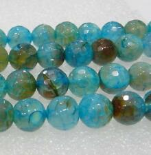 AAA 6mm Faceted Blue Dragon Veins Agate Round Loose Bead 15""