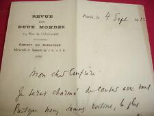 """LAS René Doumic """" Directeur de la Revue des Deux Mondes """" 4 septembre 1922"""