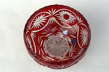 SALAD BOWL, 17cm wide, RUBY RED Cut to clear Overlay/ Cased Crystal, Russia