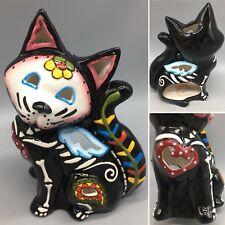 Blue Sky Sugar Skull Cat Black Skeleton T-light Candle Holder Halloween Day Dead