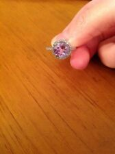 925 Silver Light Amethyst Ring With Diamonds Womens Size 6.5 Halo Round Gemstone