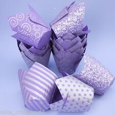 Tulip Muffin Wraps In Purple & Silver, Pack Of 50