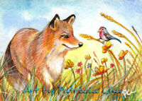 "ACEO LE Art Card Print 2.5""x3.5"" "" Fox And Bird In The Field "" Art by Patricia"
