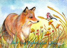 """ACEO LE Art Card Print 2.5""""x3.5"""" """" Fox And Bird In The Field """" Art by Patricia"""
