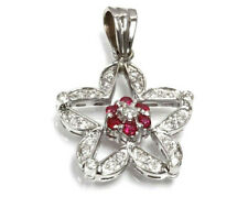 0.5 ctw Natural Red Ruby & Diamond Solid 14k White Gold Star Flower Pendant 1.1""