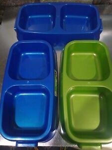 Set of 3 Van Ness Lightweight Dinner Pet Dish Capacity Medium 2 Blue One Green