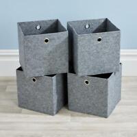 Folding Grey Felt Square Storage Utility Box Fabric Cube 4pc Basket Set Box
