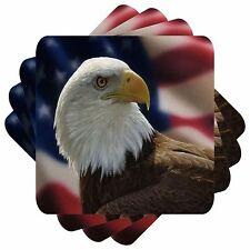 American Bald Eagle Set Of 4 Bar Table Square Coasters