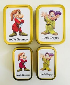 Disney 100% Dopey 100% Grumpy 2oz 1oz Metal Tobacco Stash Storage Pill Tin Gift