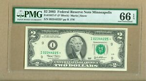 2003 U.S. $2 FRN STAR NOTE Minneapolis PMG 66 Gem Uncirculated EPQ